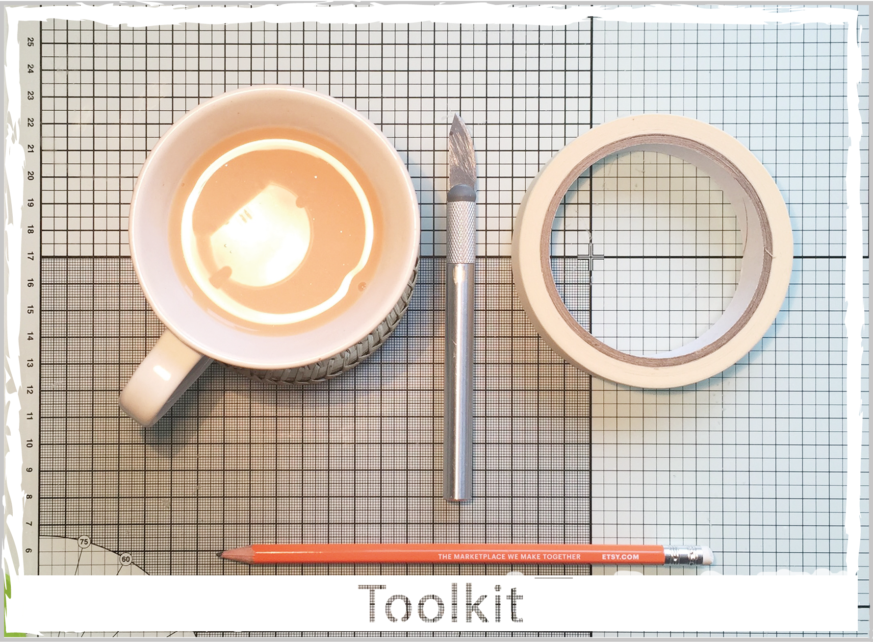 Toolkit - Tea, tape, Etsy pencil & craft knife.