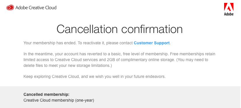 Cancellation confirmation for my Creative Cloud membership.